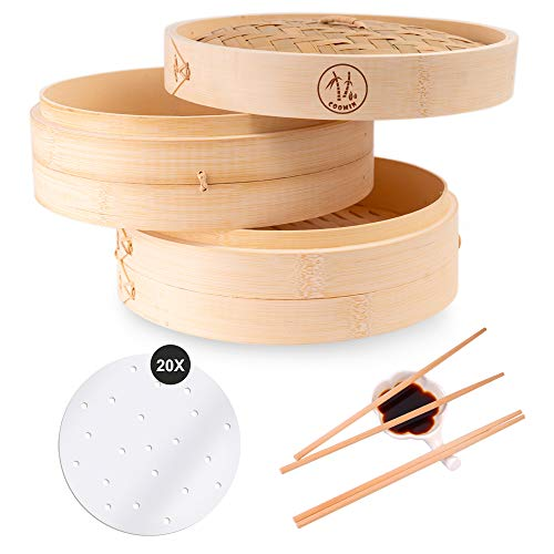 Coomin 10 Inch Bamboo Steamer Basket, Premium 2 Tier Food Steamer with Lid, Handmade Steamer for Cooking/Veggie/dumplings/Eggs, Contains 2 Pairs of Chopsticks, 1 Sauce Dish & 20 Liners