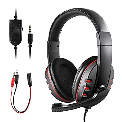Gaming Headset for PS4 Xbox One, JAMSWALL 3.5mm Wired Over-head Stereo Gaming Headset Headphone with Mic Microphone, Volume Control for SONY PS4 PC Tablet Laptop Smartphone Xbox One from Jamswall