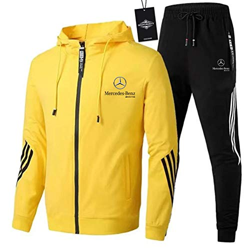 Finchwac Herren Jogging Anzug Trainingsanzug Sportanzug Merce.Des-Ben.Z Streifen Kapuzen Jacke + Hose X/Gelb/M sponyborty
