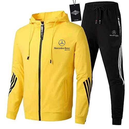 ASPONYBO Herren und Damen Sportanzug Für Mercedes-Ben.Z A.M.G Zweiteilige Jacke Pants Stripe mit Kapuze Trainingsanzug Mantel SPONYBORTY/Gelb/XXL