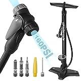 Luftpumpe Fahrrad für alle Ventile Fahrradpumpe Standpumpe für Fahrrad mit Großem Manometer bis 11 Bar/ 160 PSI Fahrradluftpumpe Französisches Ventil SV AV DV Rennrad E-Bike Mountainbike Zubehör