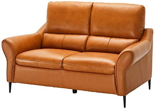 Ibbe Design Cognac Braun Echtleder 2er Sitzer Sofa Modern Leder Couch Wohnzimmer Vintage Ledercouch Sally, 160x94x98 cm