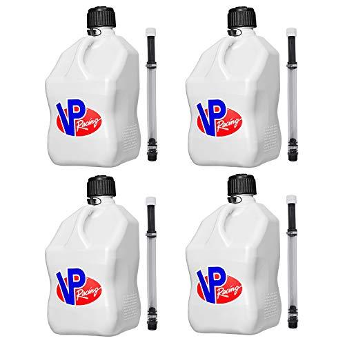 VP Racing Fuels Motorsport 5 Gallon Square Plastic Utility Jug White & 14 Inch Hose (4 Pack)