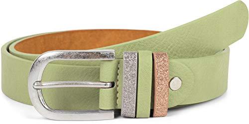 styleBREAKER Damen Gürtel Uni mit Glitzer Schlaufe, kürzbar 03010091, Farbe:Jadegrün, Größe:85cm