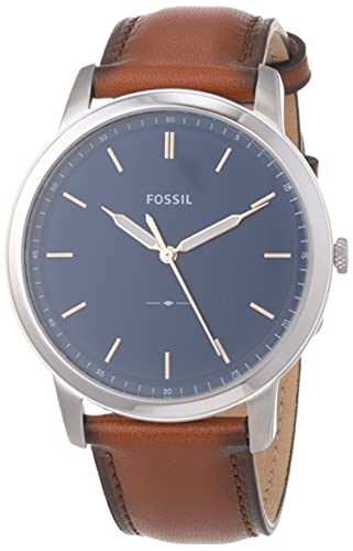 Fossil Men's The Minimalist Quartz Stainless Steel and Leather Three-Hand Watch, Color: Silver, Luggage (Model: FS5304)