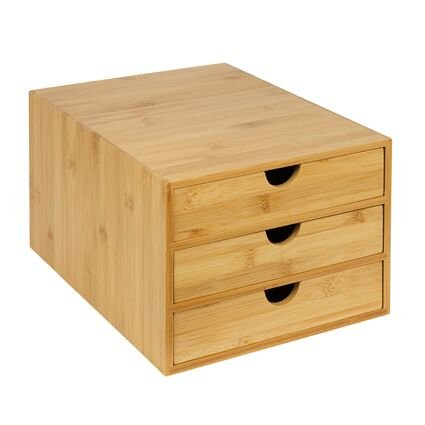 woodluv - Organizer con 3 cassetti, in bambù, per casa, ufficio, scrivania, formato A4, resistente, per riporre i propri articoli di cancelleria, 25 x 33 x 18,5 cm (larghezza x profondità x altezza).