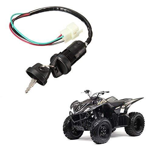 RENCALO Interruptor de Barril de Encendido Universal 4 Cables 2 Teclas para Motocicleta Pit Dirt Bike Quad ATV