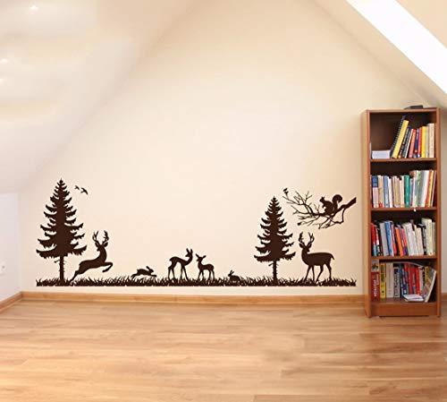 """Wandtattoo Kinderzimmer Wandtattoo Wohnzimmer Fototapete""""Woodland Forest Animal Bambi Antilope Rabbit"""" für Jungen Schlafzimmer Wohnzimmer"""