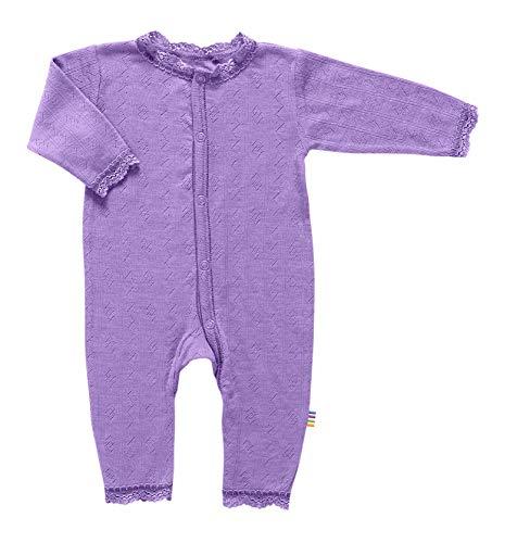 Joha Wolle-Seide Strampler violett mit Ajourmuster und Spitze