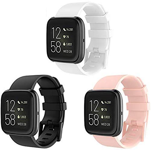 KingAcc Kompatibel Fitbit Versa 2 Armband,Weiche Silikon Ersatz Armbänder Armband für Fitbit Versa/Versa 2/Versa Lite,Metall Schnalle Fitness Armband Uhrenarmband Frau Männer Groß