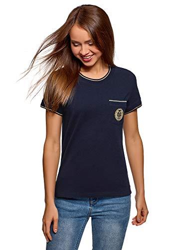 oodji Ultra Mujer Camiseta Recta con Decoración, Azul, ES 42 / L