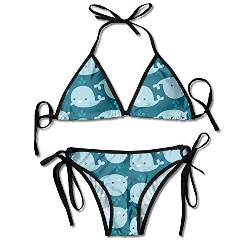 Sistemas del Bikini para Mujer Impresos Fondo de Las Ballenas de la Historieta, Traje de baño de la Playa del Traje de baño del triángulo