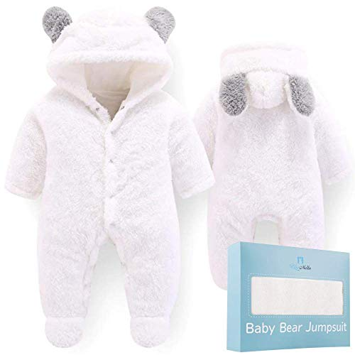 Baby Bear Jumpsuit | Ultra-Soft Onesie for Toddlers 6-12 Months | White Winter Snowsuit for Girls and Boys | Cute Cartoon Coat Jacket for Infants | Perfect Baby Girl Shower Gift and Newborn Registry