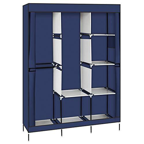 71' Portable Closet Wardrobe Clothes Rack Storage Organizer with Shelf Blue
