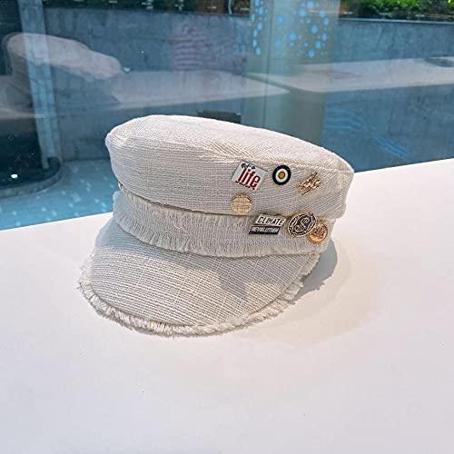 Hut Hut Baumwolle Begriff Heißer Kondom Pingde Navy Hut Japan Britische Retro Zange Marke Straße Hundert Berührung-Beige_M (56-58 cm)