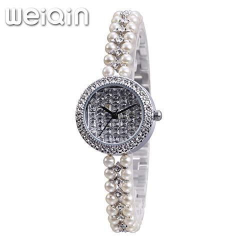SJXIN schöne und stilvolle SKONE Uhr, Damenarmbanduhr Fashion Pearl Strassuhr Mode Uhren (Color : 2)