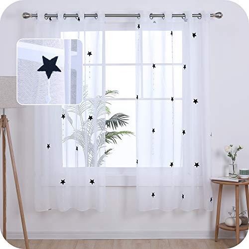 UMI. by Amazon 2 Stück Gardinen Transparent Ösenvorhang Vorhangschals mit Stern Stickerei 175x140 cm Dunkelblau