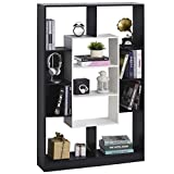 homcom mobile libreria a muro, design moderno e antiribaltamento in legno bianco e nero, per casa, ufficio, 95x22x150cm