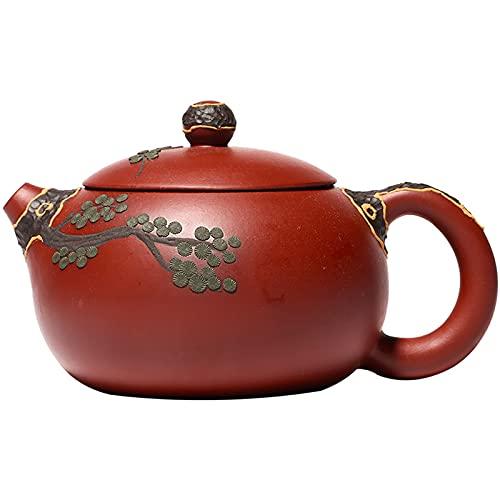 DTKJ Zisha Teekanne 8,6 Unzen, Echte Handgemachte Yixing Clay Teekanne Mit Infuser, Chinesisches Kung Fu Brew Tea Maker Set - Pine Needles Xishi