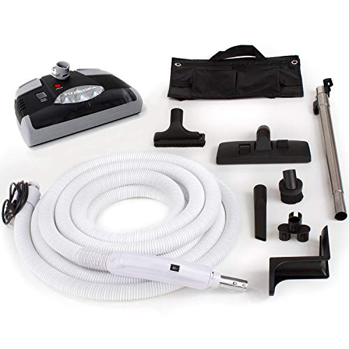 GV Central Vacuum Kit With Power Head 35 Foot Hose And Tools Designed For Beam Electrolux Nutone Hayden Fits All Black Head