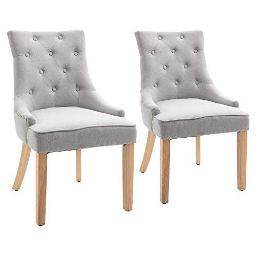 BESTSOON Juego de sillas de comedor de 2 piezas, silla acolchada con apoyabrazos, patas de madera maciza, color gris claro para comedor, sala de estar, cocina