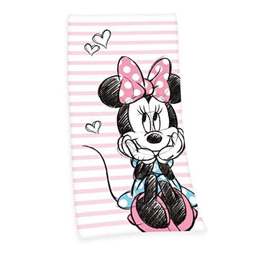 Herding Disney`s Minnie Mouse Velourstuch, Baumwolle, Mehrfarbig, 75 x 150 cm