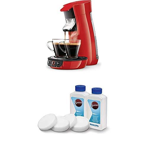 Philips Senseo Viva Cafe HD6563/80 Kaffeepadmaschine (Crema plus, Kaffee-Stärkeeinstellung) rot, mit Flüssigentkalker-Set