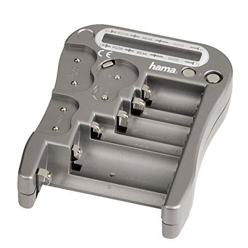 Hama Testeur de batteries/piles 'BT2' (Testeur de batterie Universel pour piles et batteries, appareil de test avec afficheur LCD de la tension résiduelle et test de la pile bouton) Gris