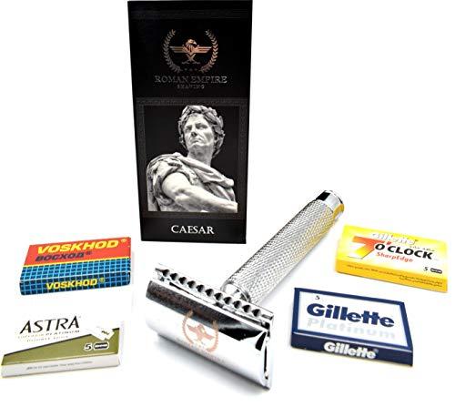 Roman Empire Shaving® Rasierhobel Caesar - Eleganter Safety Razor für Damen & Herren - Nassrasierer Set inkl. 20 Rasierklingen von Astra, Platinum, Voskhod - Rasier Set