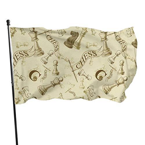 Mesllings Bandera de juego de ajedrez de tamaño Arious 4x6 pies, color vivo, resistente a la decoloración, fibra de poliéster con ojales