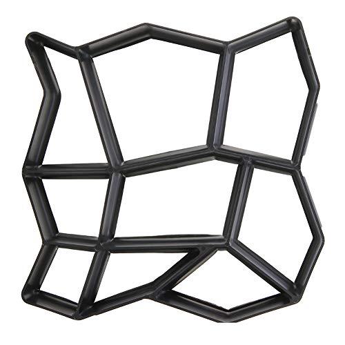 PINGHE Molde para hacer caminos irregulares – Molde de piedra de paso de hormigón para jardín/patios/césped – Juego de moldes de plástico negro