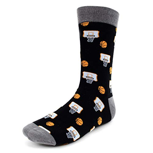 Urban-Peacock Men's Novelty Fun Crew Socks for Dress or Casual - (Basketball - Black with Grey, 1 Pair)