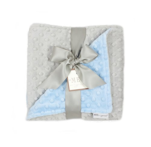 MEG Original Baby Boy Reversible Minky Dot Blanket Blue/Gray