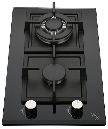 K&H 2 Burner 12' Built-in LPG/Propane Gas Glass Cast Iron Cooktop 2-GCW-LPG