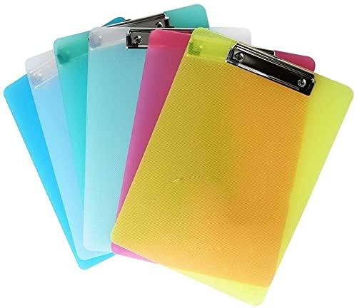 ECHG 6Pcs A4 Clipboard, Plastic Transparent A4 Clipboard 5 Colors Paper Holder Writing Board for Memo Form Document