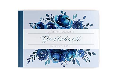 PaperMaid Gästebuch Hochzeit Aquarell Indigo Blau mit vorgedruckten Fragen Hardcover DINA4 Quer