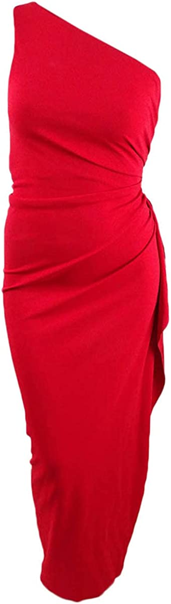 Xscape Women's Ruched One-Shoulder Gown (10, Red)