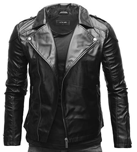 Crone Theo Herren Lederjacke Ecoleder Basic Biker Jacke aus weichem Rindsleder und Ecoleder (M, Schwarz (Ecoleder))