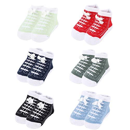 Fyeep Baby Slippers Gevoerde Sokken Niet-lip 6 paar Baby Sokken Jongens Katoenen Sok Sneaker Patroon 0-6 12 Maanden