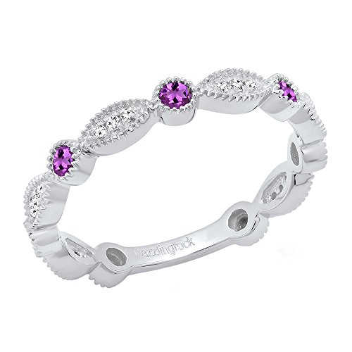 Dazzlingrock Collection 14K Round Amethyst & White Diamond Ladies Stackable Wedding Band Ring, White Gold, Size 5.5