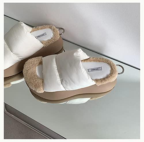 DHYF Zapatillas de Invierno para Interior y Exterior,Zapatillas de Felpa cálidas, Zapatillas de algodón de Moda al Aire Libre-Color del té con Leche_40,Pantuflas cálidas Pantuflas Ligeras y Suaves