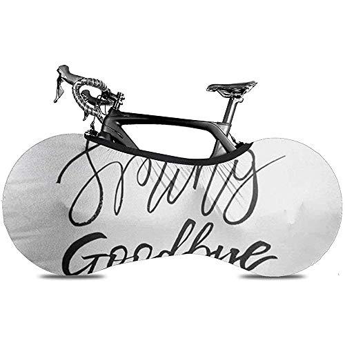 Bicycle Wheel Cover, Bike Storage Bag, Bike Cover - April Hello Spring Goodbye Winter Inspiration Saying Lettering Brush