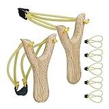 Relaxdays Unisex– Erwachsene Profi Steinschleuder, Slingshot mit 6 Schleudergummis, Jagdschleuder 2er Set, Katapultschleuder aus Holz, gelb
