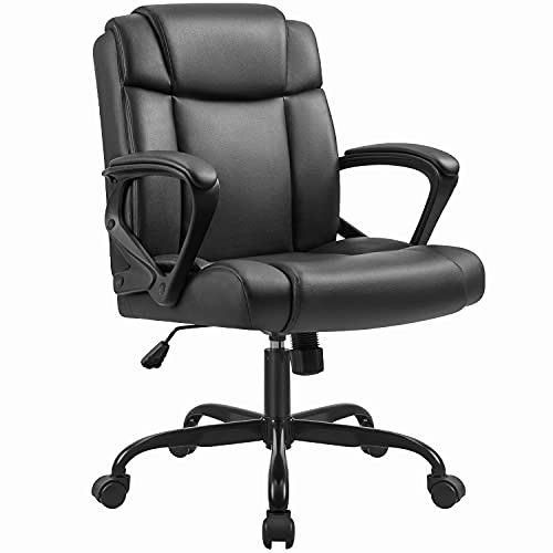 Furmax Mid Office Computer Leather Executive Desk Swivel Chair with Padded Arms Back Support Weight Bearing 350LBS, Black