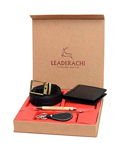 Leaderachi Raksha Bandhan Full Grain Black Genuine Leather RFID Blocking Wallet Combo Set For Mens[RAKHI-WKPB-29901]