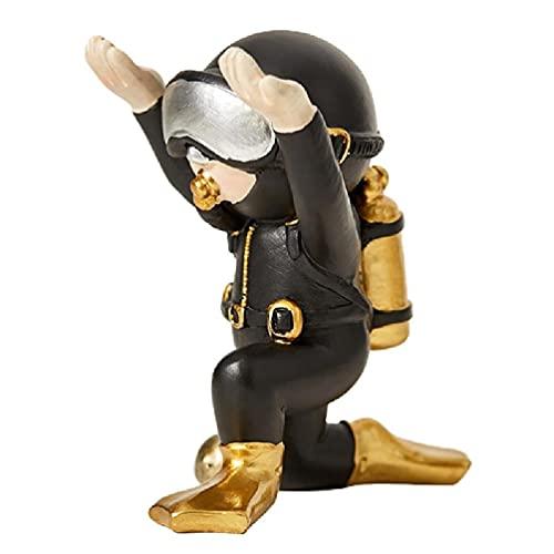 Soportes para bolígrafos de resina Dorado / plateado Estatua de buzo arrodillado Adornos de juguete Altura 3.54in / 3.94in para niños Regalo de cumpleaños para adultos Gafas de sol Rack Resina de /