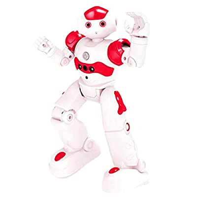High-Tech Artificial Intelligence Robot - RC Smart Robot Toy for Kids Gesture Sensing Dancing Walking Remote Control Robot, Intelligent Programmable Educational RC Robot Robotics Toys for kids (Red)