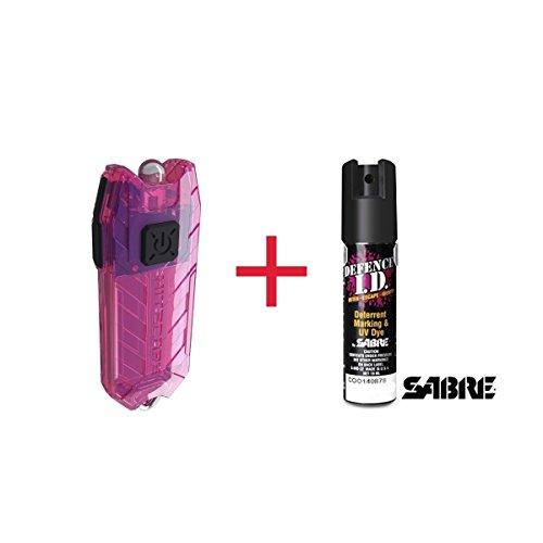 Sabre USA Pack Défense Lampe Porte Clé Nitecore Rose + Spray défense 19ml