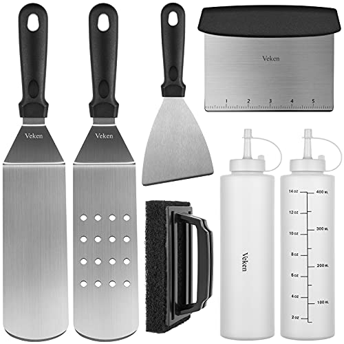 Veken Starter Griddle Accessories Kit with Utensils for Blackstone, 7 Pc. Flat Top Grill Accessories, Scraper Spatulas for BBQ Grill Frying, Draining, and Cooking Meals, Stainless-Steel Tools