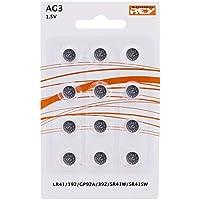 Pack de 12 Pilas AG3 1.5V Alcalinas Tipo Botón de Litio, LR41, 192, GP92A, 392, SR41W, SR41SW